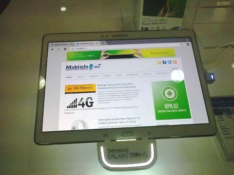 Планшет Samsung Galaxy Tab S 10,1 во время теста 4G-сети.