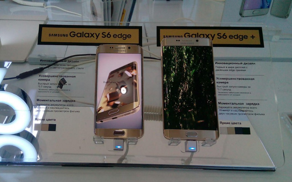 Samsung Galaxy S6 Edge+ (справа) рядом с Galaxy S6 Edge,